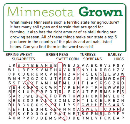 MN Ag Word Search Answer Key