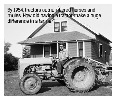 farmer on a tractor in 1954